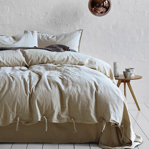 Natural linen duvet cover set