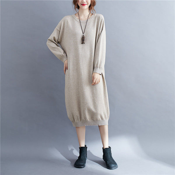 AW New solid color loose medium length sweater dress