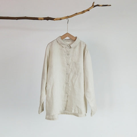 100% pure linen solid shirt
