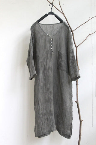 SALE Original summer thin linen wrinkled shell button long shirt dress