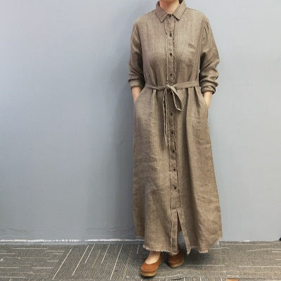 Twill sand-washed 100% pure ramie long shirt cardigan