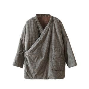 Original design Zen linen mini plaid Kimono cotton padded jacket