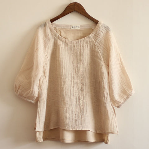 Women's Pleated Linen Cotton Double Layer Hemp Shirt Blouse