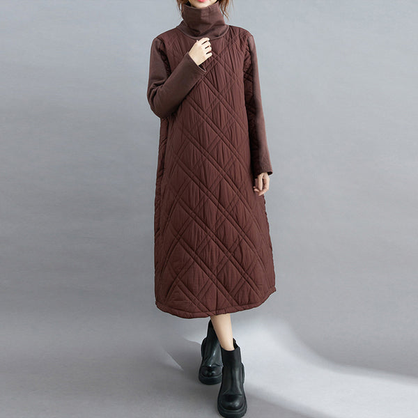 NEW Solid cotton padded one-piece high neck long sleeve dress