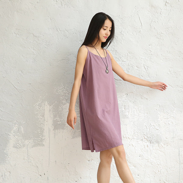 Linen Cotton Women's Knee Length Organic Nightdress Underdress