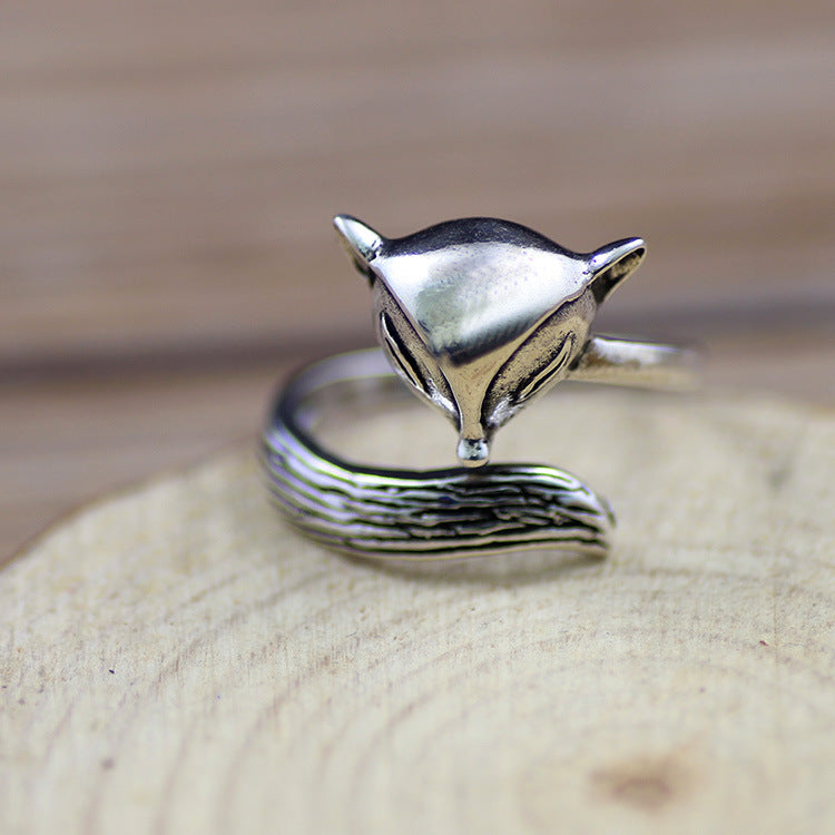 Sterling silver jewelry opening adjustable ring female cute fox metallic ring