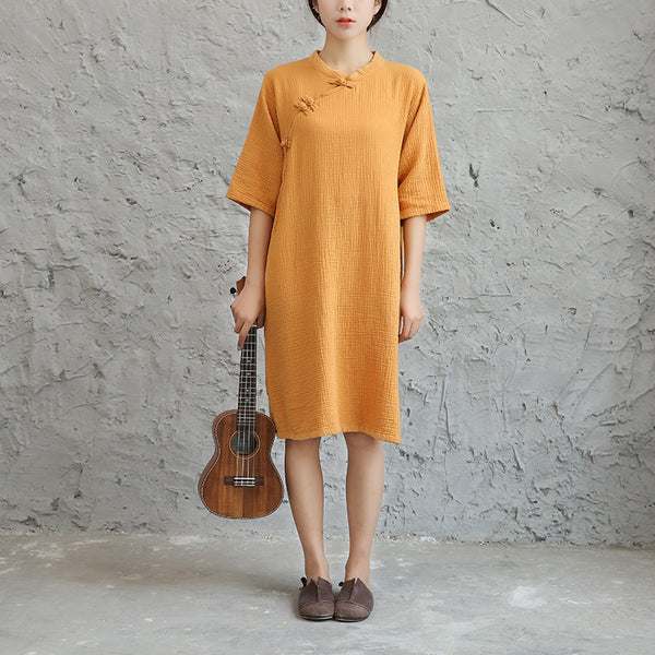 Spring summer new original cotton linen retro Chinese style loose onepiece dress