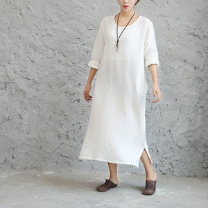 Summer autumn new cotton linen loose solid wrinkled kaftan dress