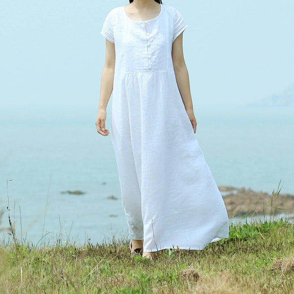 Classic short-sleeved maxi dress embroidery retro linen robe
