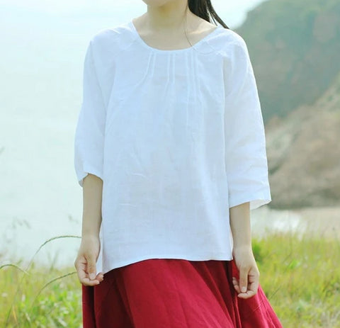 Pure linen mid-sleeve asymmetric casual high low shirt top