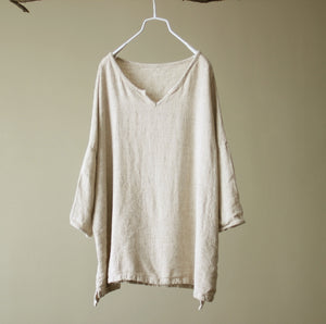 Crude hemp v-neck linen pullover shirt