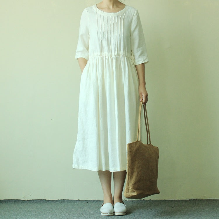 Pure linen five crop sleeve midi dress