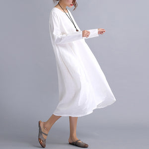Sabella Zen linen O Neck Long Sleeve Cotton Linen Dress
