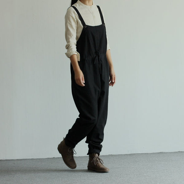 Women's black linen loose casual bib overalls