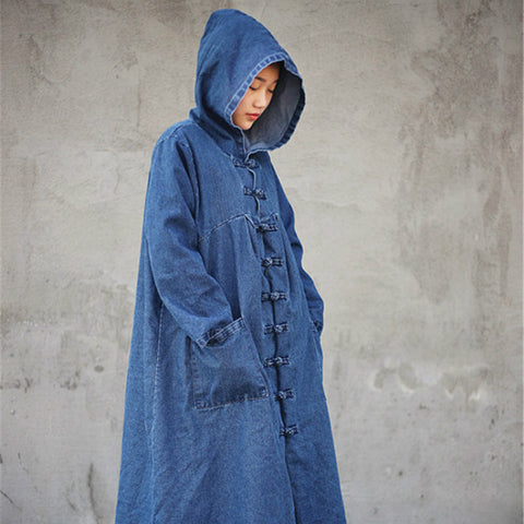 Denim cotton long coat dark blue cowboy witch robe