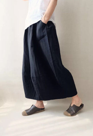 Winter tight waist linen cotton twist skirt quilted warm long skirt Lantern skirt