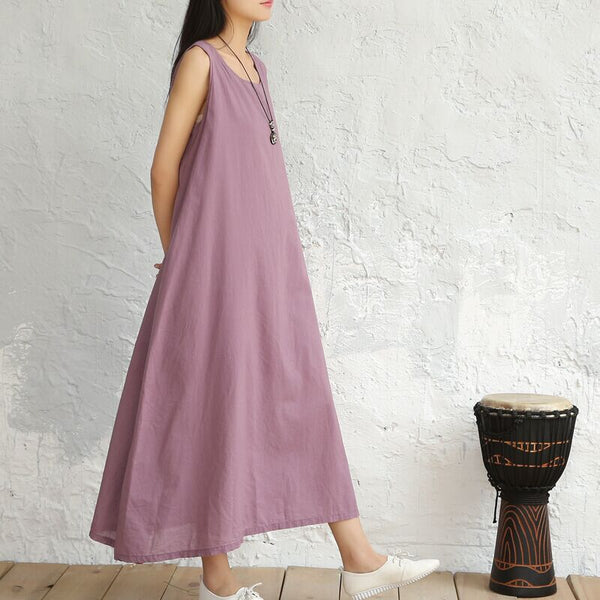 Linen sleeveless A-line slip long maxi dress