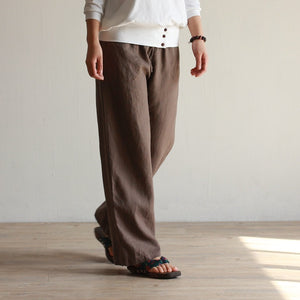 Women's 100% pure linen casual straight long pants