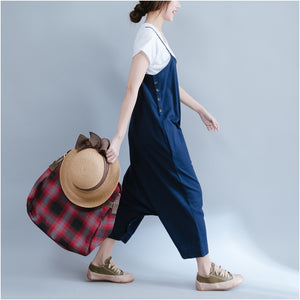 SS new loose large size blue linen overalls bib pants