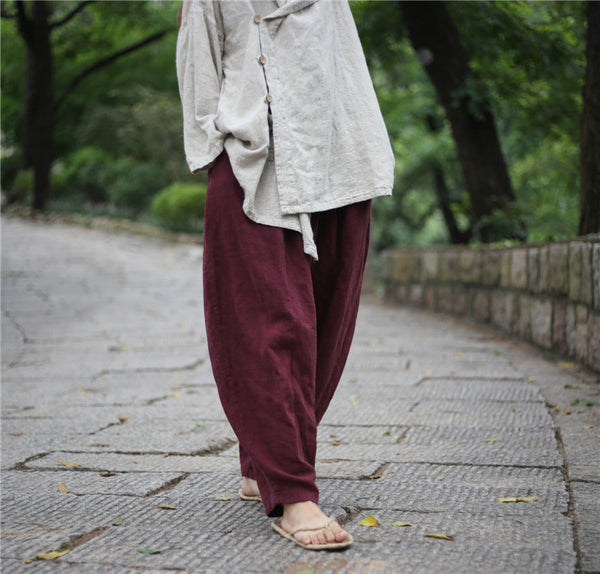 Christmas gift Winter retro linen baggy pants harem flax trousers