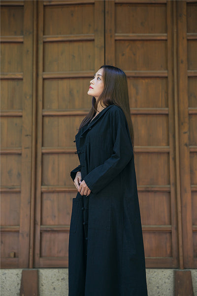 Linen long coat Cardigan coat witch robe
