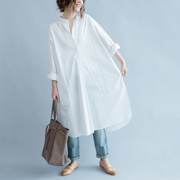Summer white boyfriend shirt hight low dress