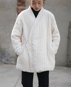 Zen tether comfort quilted coat kimono top