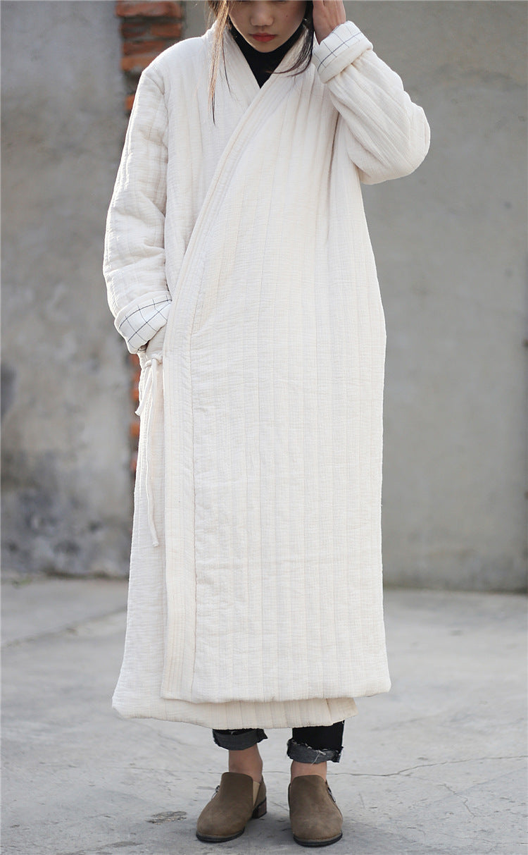 Winter zen onepiece loose quilted cotton linen robe
