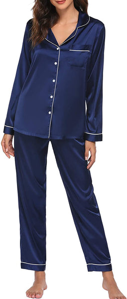 Women's Satin Pajamas Long Sleeve Sleepwear Set