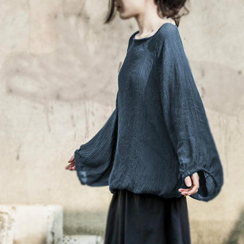 Victoria linen cotton lantern sleeves loose pullover top