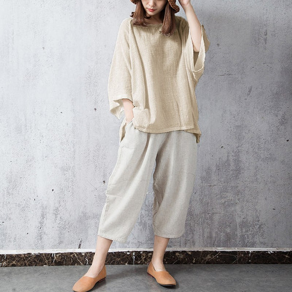 Tims raglan sleeves loose bamboo linen top