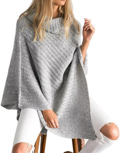 Loose high neck knitted Cape Pullover
