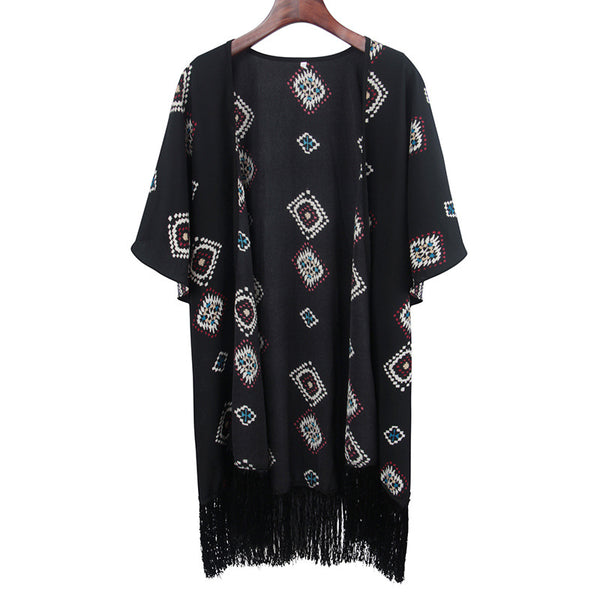 Floral print blouse Women's 2019 SS long beach chiffon cardigan