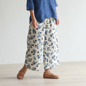 Women's fancy printed linen cropped trousers