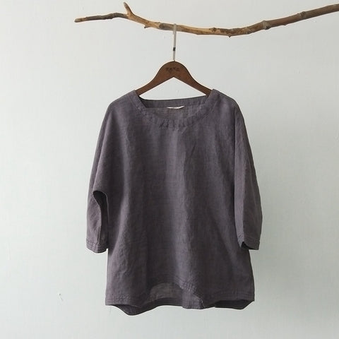 Pure linen yarn-dyed fabric three-quarter sleeve top