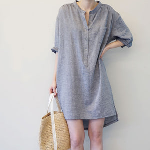 fc75c010e5e Lakshmi gray striped loose linen boyfriend shirt dress