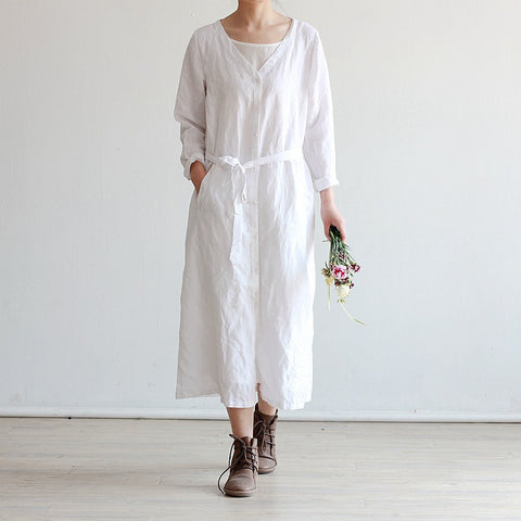 Women's ramie cotton long cardigan dress linen caftan belt robe