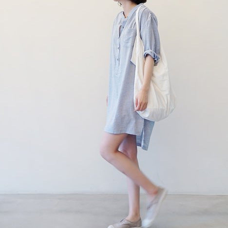 Lakshmi gray striped loose linen boyfriend shirt dress