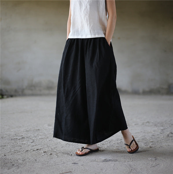 Sand wash loose linen elastic band trousers palazzo wide leg pants