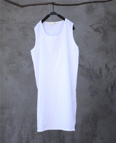 SALE linen loose straight vest dress