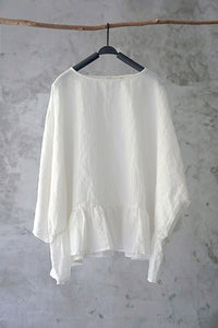 SALE Original linen women's ramie cotton ruffled bat sleeve shirt