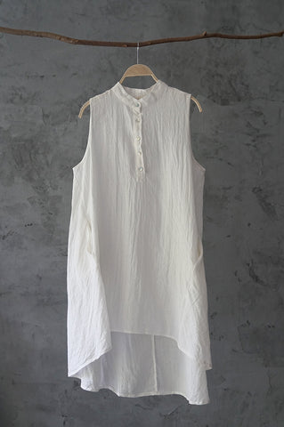 SALE ramie cotton sleeveless large swing collar shirt linen vest