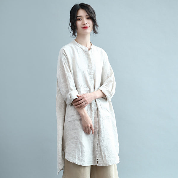 2019 New relaxed solid cotton linen onepiece shirt dress