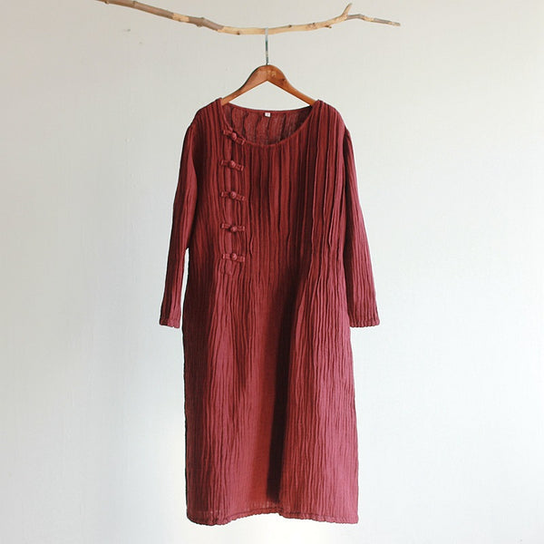Retro linen buckle one piece dress