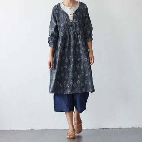 Linen Dress Patterns Floral Fake Two Piece Shirt Dress