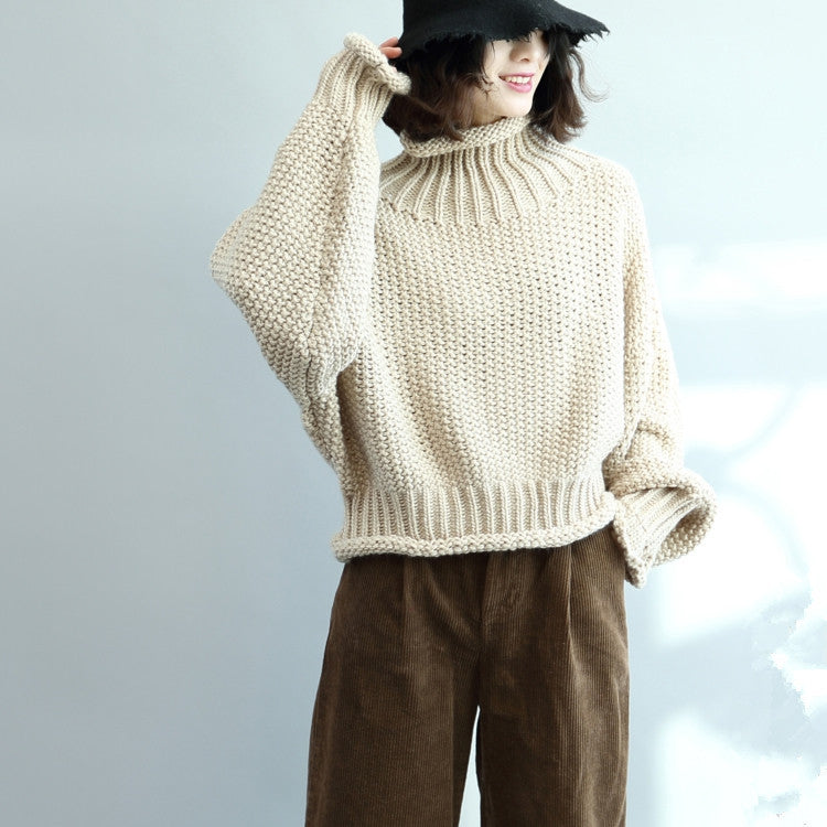 2019 Fall loose thick knitted wool sweater full sleeve jumper outwears