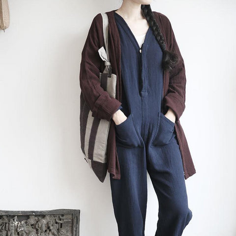 Washed linen long sleeve jumpsuit onepiece overalls