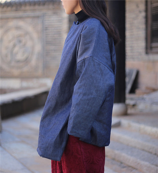 Denim winter coat folk linen quilted jacket