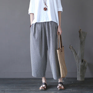 Fenny plaid cropped wide leg pants