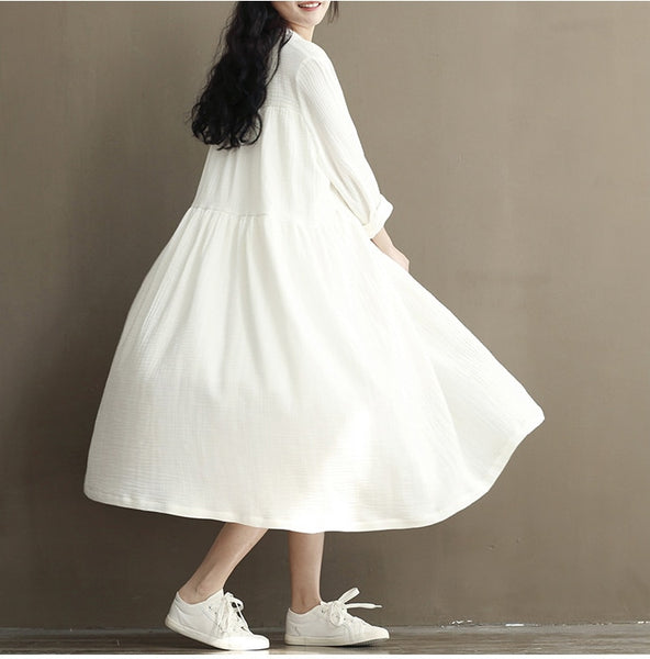 Cotton Linen Mori Girl White Summer Midi Dress